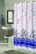 EZ On Shower Curtain - No Shower Hooks required - Blue Note