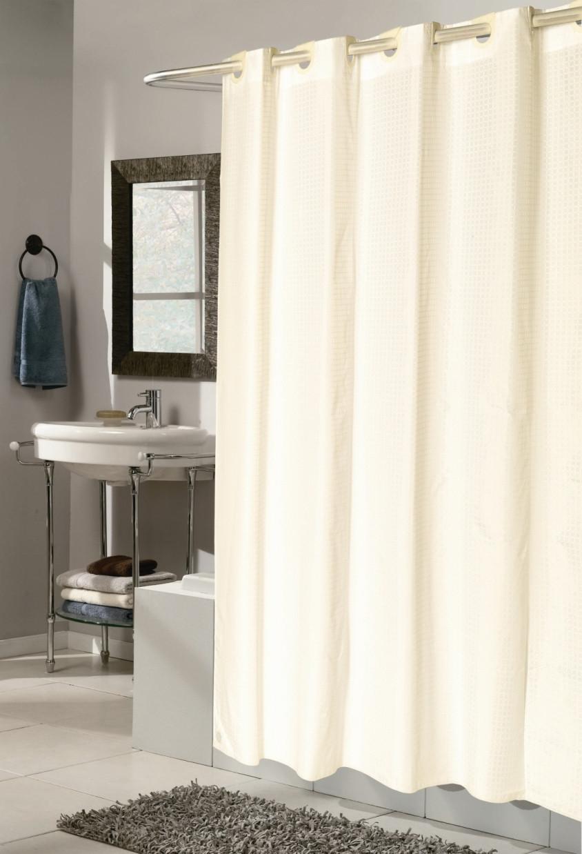 Checks Ivory Ez On Hookless Fabric Shower Curtain