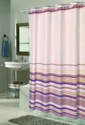 EZ On Shower Curtain - No Shower Hooks required - Stripes - Brown