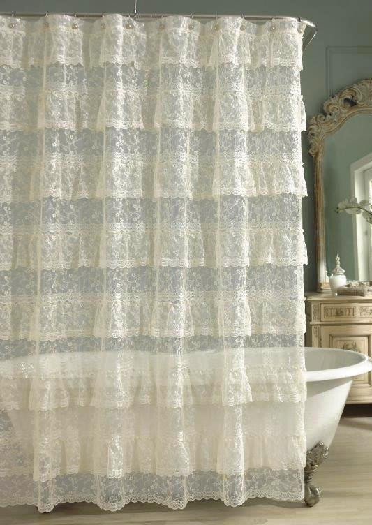 Priscilla Lace Ruffled Shower Curtain Ivory