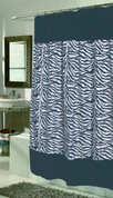 Savannah Black Zebra Faux Fur Shower Curtain