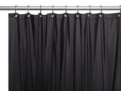 Solid Vinyl Shower Curtain Liner 3 gauge - Black