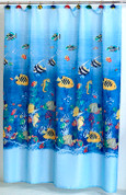 Tropical Fish Fabric Shower Curtain