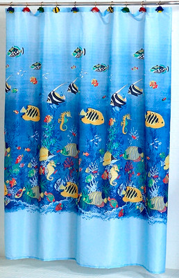 Finest Sealife Tropical Fish Fabric Shower Curtain - Linens4Less.com BH53