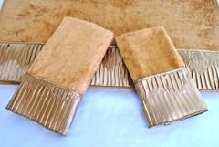 Vertical Pleats Gold Embellished 3pc Towel SET