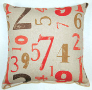 Numerology Throw Pillows (Set of 2) - Coral