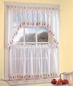Apple Orchard sheer kitchen curtain
