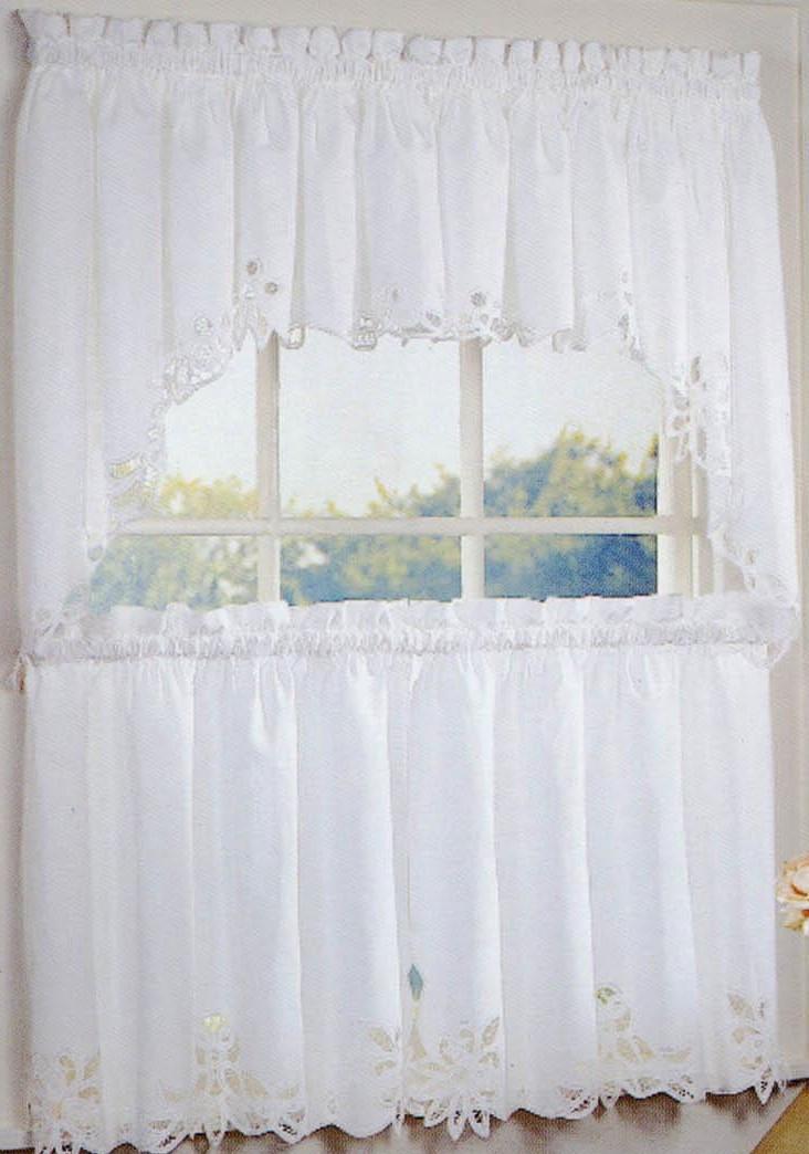 White Battenburg Lace Kitchen Curtains