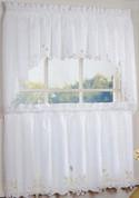 Battenburg Lace Cotton Kitchen Curtains - White