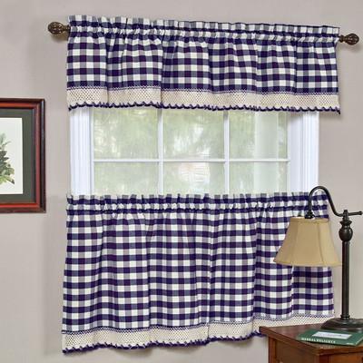 Buffalo Check Kitchen Curtain Navy Linens4less Com