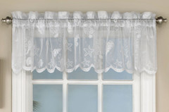 Reef Seashells Lace Kitchen Curtain Valance - White