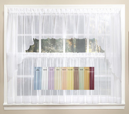 emelia sheer solid kitchen curtain available in 11 colors - Kitchen Curtain