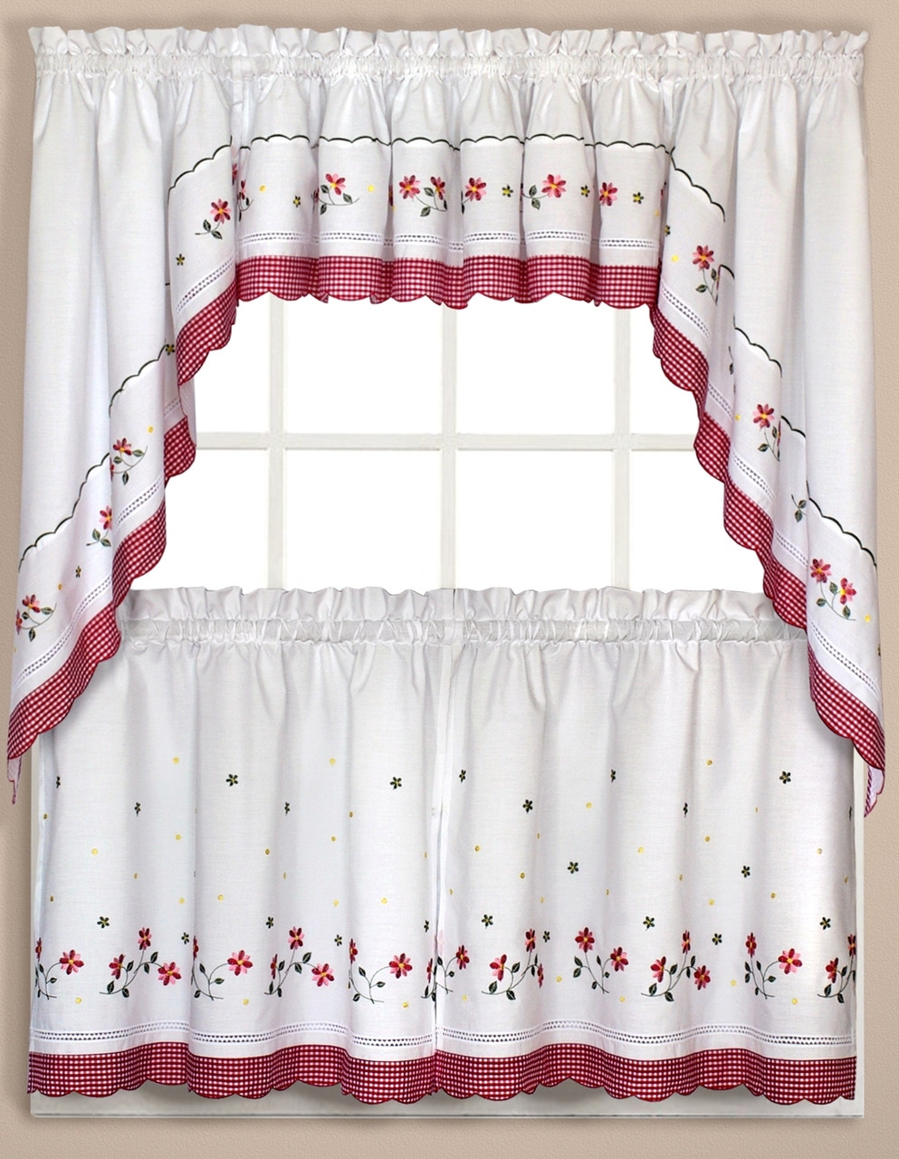 Gingham Floral Kitchen Curtain Red Linens4less Com