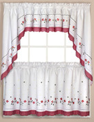 Red Gingham Floral kitchen curtain tier, swag, valance