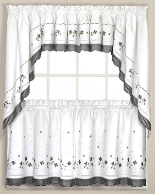 Gingham Floral Kitchen Curtain Black Linens4less Com