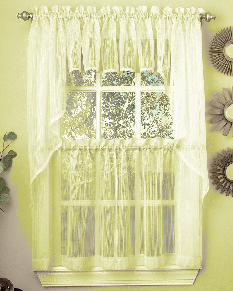 Harmony Sheer Kitchen Curtain Pale Yellow Linens4less Com