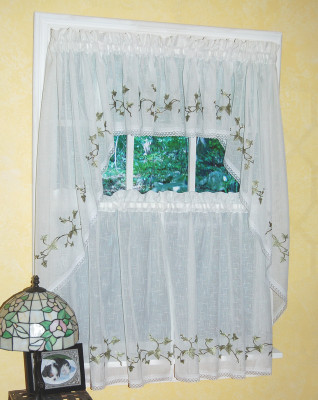 Ivy Embroidered Kitchen Curtain Linens4less Com