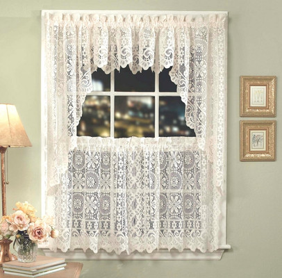 hopewell lace kitchen curtain cream - Kitchen Curtain