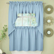 Ribcord blue kitchen curtain from Lorraine Home Fashions