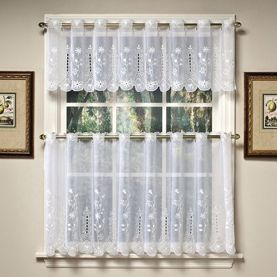 Samantha Embroidered Sheer Kitchen Curtain White