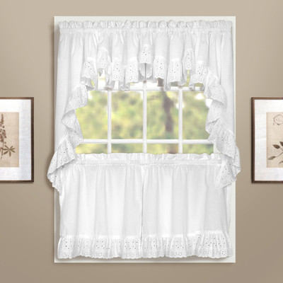 Vienna Eyelet Kitchen Curtain White Linens4less Com