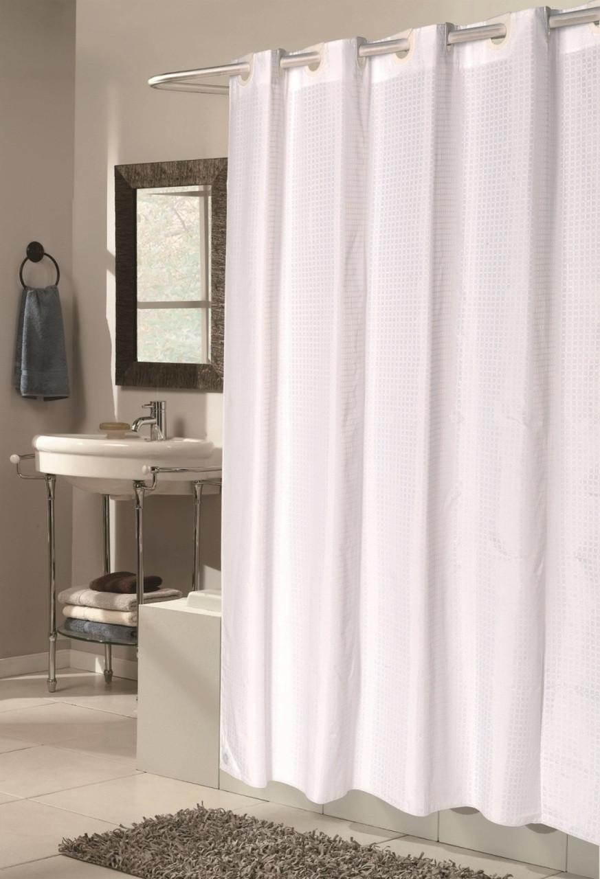 Bulk Case Pack 24 Pcs Hookless Fabric Shower Curtain Checks Extra Long