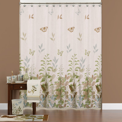 Fluttering Shower Curtain and Bathroom Accessories