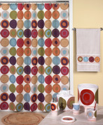 Dot Swirl Multi Shower Curtain & Bathroom Accessories