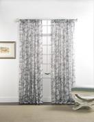 """Cecilia Printed Sheer Rod Pocket Curtain 84"""" long - Smoke"""