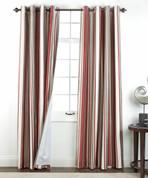 Serene striped Grommet Top Curtain Panel - Crimson from Belle Maison