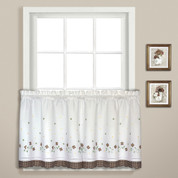 "Gingham Floral 24"" kitchen curtain tier - Taupe"