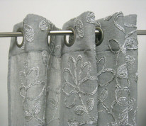 Darcy Chenille Grommet Top Curtain Panel - Pewter
