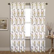 Jewel Embroidered Rod Pocket Curtain Panel - White from United Curtain
