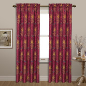 Jewel Embroidered Rod Pocket Curtain Panel - Burgundy