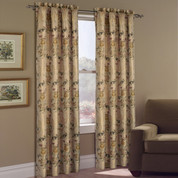 Jewel Embroidered Rod Pocket Curtain Panel - Beige