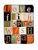 Love Faith Inspire Blanket Throw by Shavel