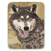 Brown Wolf Blanket Throw