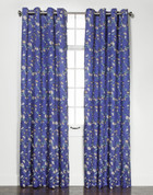 Wisteria Embroidered Grommet Top Curtain Panel - Cobalt from Belle Maison