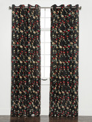 Wisteria Embroidered Grommet Top Curtain Panel - Onyx Black from Belle Maison