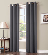 Gareth Sun Zero Blackout Grommet Top Curtain - Charcoal