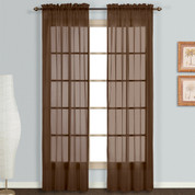 Monte Carlo Chocolate brown sheer rod pocket curtain pair