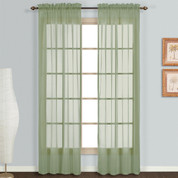 Monte Carlo sage green sheer rod pocket curtain pair