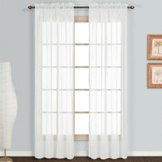 Monte Carlo white sheer rod pocket curtain pair