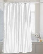 Shimmer Faux-Silk Shower Curtain - White
