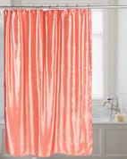 Shimmer Faux-Silk Shower Curtain - Salmon