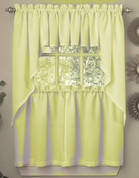Ribcord kitchen curtain in Yellow (swag+ valance over tier)