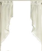 Gridwork kitchen curtain swag - Cream