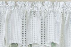 Gridwork kitchen curtain swag - White