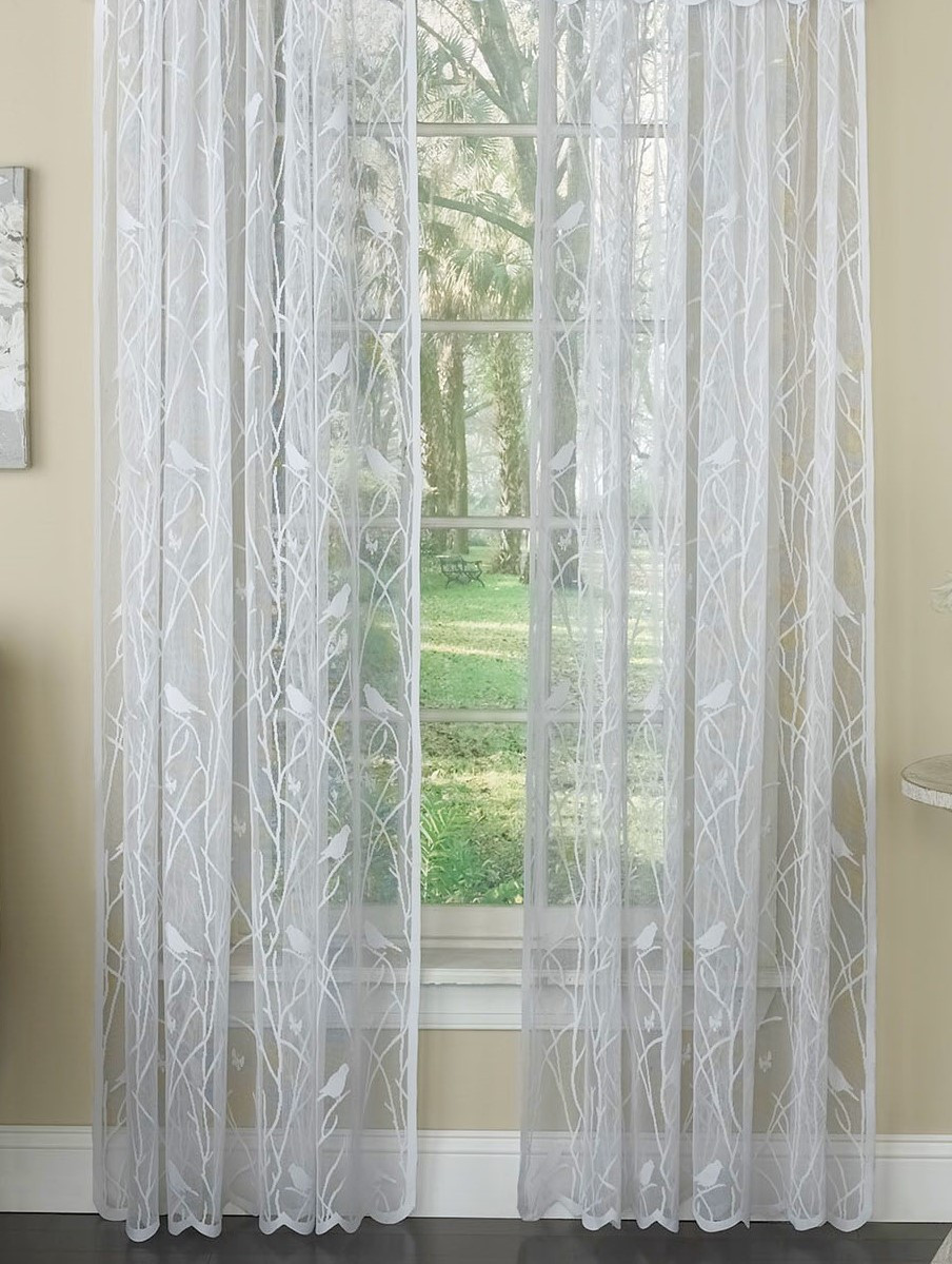 Songbird Lace Rod Pocket Curtain Panel White