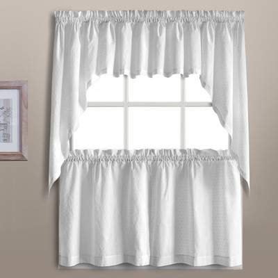 Dorothy Swiss Dot Kitchen Curtain White Linens4less Com